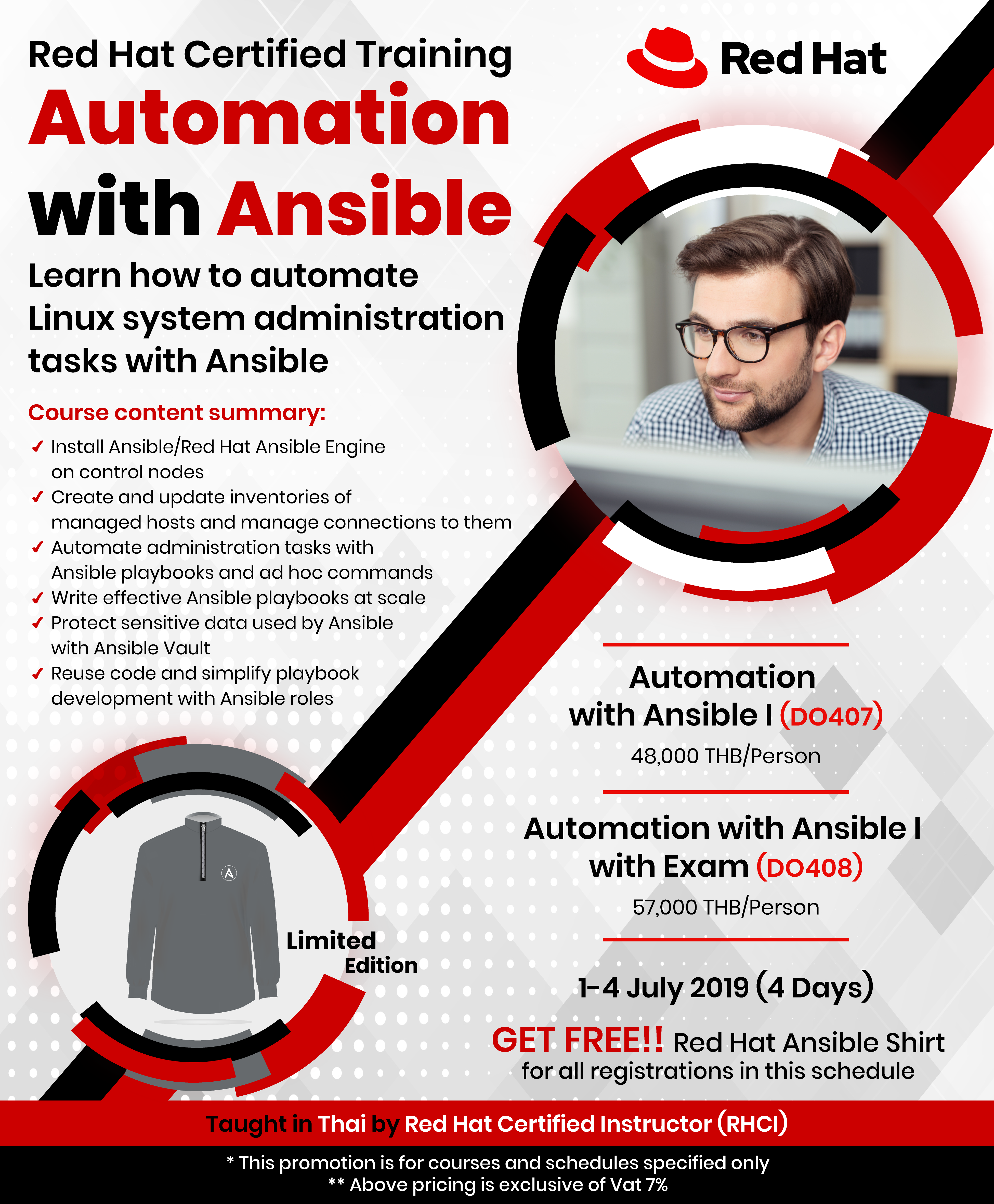 Red Hat Ansible (DO407/408) GET FREE!! Red Hat Ansible Shirt - Call
